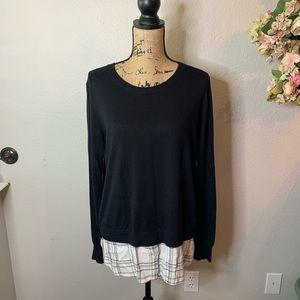 Dalia Crewneck Sweater with Flannel Underlay